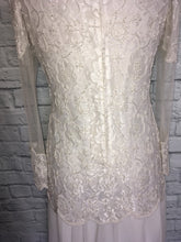 Load image into Gallery viewer, New 80s does 20s Off White Chiffon Drop Waist Pearl Beaded Bridal Flapper Dress Gatsby Party Bridal shower reception Size 12