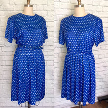 Load image into Gallery viewer, 80s Dress Secretary Blue Polkadot Elastic waist Short Sleeves Fall Fashion Plus Size 2XL