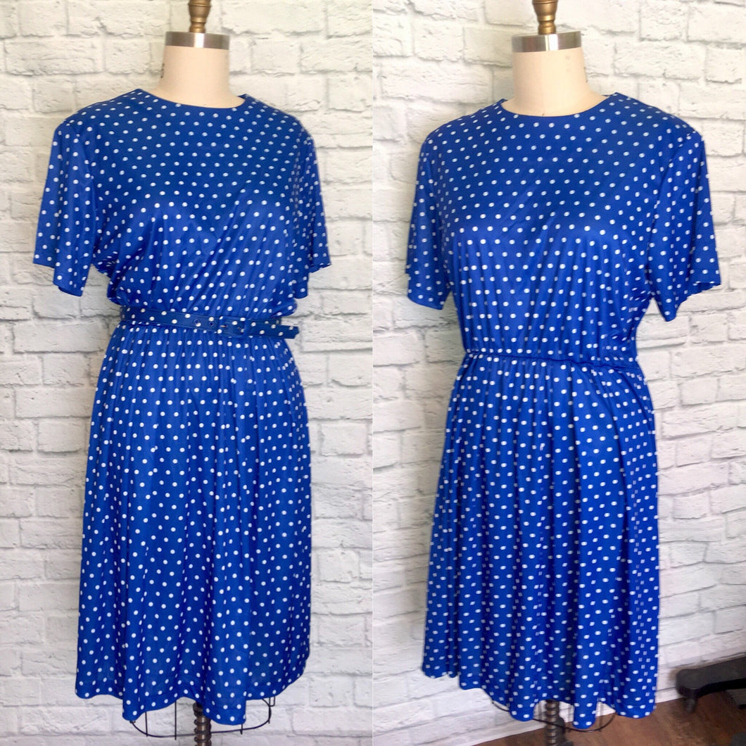 80s Dress Secretary Blue Polkadot Elastic waist Short Sleeves Fall Fashion Plus Size 2XL
