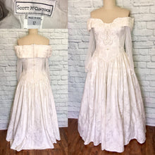 Load image into Gallery viewer, 80s 90s White Brocade Off Shoulder Wedding Dress Bridal Gown Sheer Sleeves Romantic Full Skirt Size 12