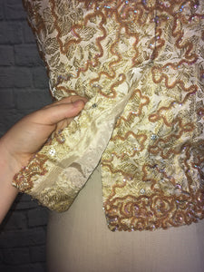 Sparkly Gold 60s Brocade Party Top Sleevless Wedding Guest 1960s Sequin Size 10 M Medium