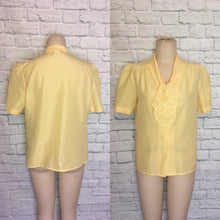 Load image into Gallery viewer, 80s yellow Tie Jabot Collar Button Down Spring Summer Blouse Plus size 18