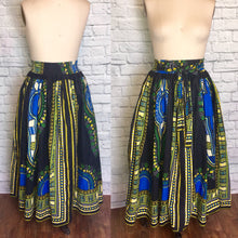 Load image into Gallery viewer, Batik Dashiki Cotton Circle Skirt-African Stars- Black Full Ankle Length Bow High Waist Size Large to XL Plus