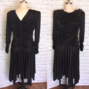 Slinky 80s Dress, Black 1980s Long Sleeve Hanky Zig Zag Hem Goth Vampire Halloween, Beaded applique Size large 12 w32