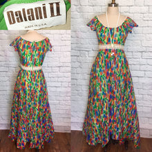 Load image into Gallery viewer, 1970s Chiffon Dress Boho High Low Front Faix Wrap Maxi Full Length- Green Print Size Medium