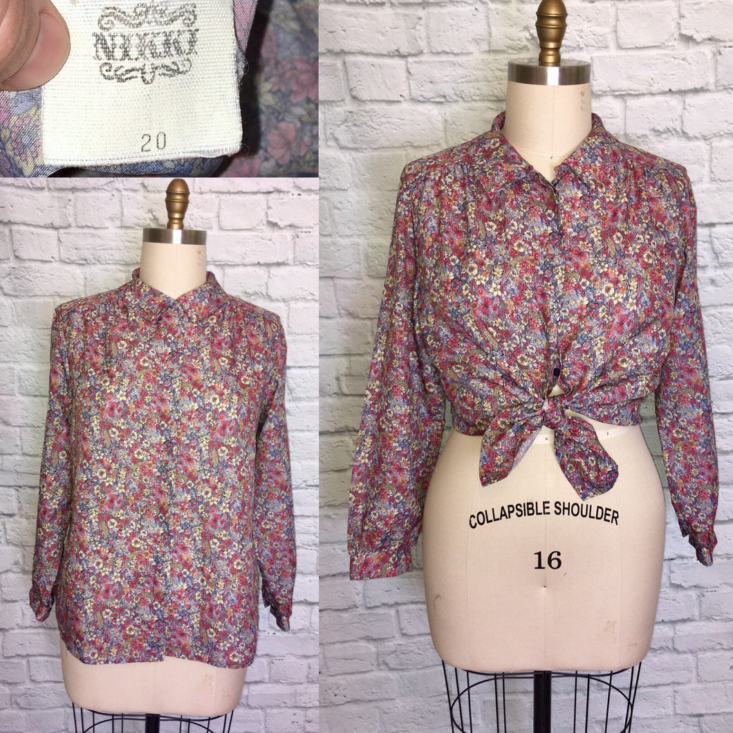 80s Floral PeterPan Collar Button Down Spring Long Sleeve Blouse Plus size 20