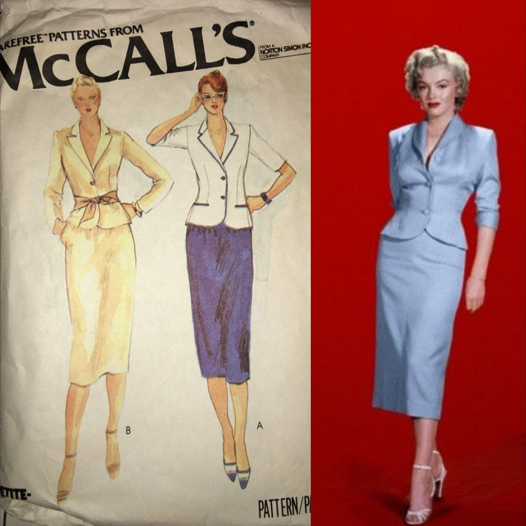 1979 Power Suit Sewing pattern Mccalls 6635 Pinup Jacket Skirt 70s 80s Size 16 bust 38