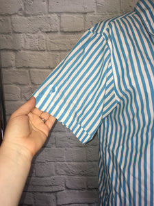 80s Blue White Stripe Button Down Camp Shirt Summer Preppy Sleeveless Blouse size 12 14 Large