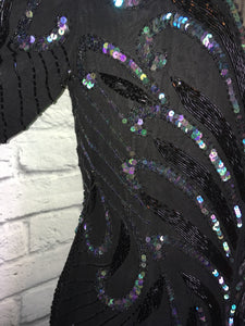 1980s Glam Silk Beaded Party Dress Black iridescent sequin fringe Hem Sheer Bodice Gatsby 80s 1980s does 1920s 20s Size Large 12 W33