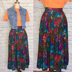 NWT Skirt high waist Rayon Midi Length 80s 90s Abstract Gold Print Waist Elastic size L 12