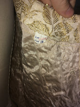 Load image into Gallery viewer, Sparkly Gold 60s Brocade Party Top Sleevless Wedding Guest 1960s Sequin Size 10 M Medium