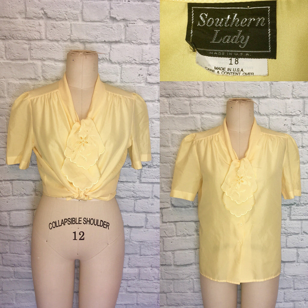 80s yellow Tie Jabot Collar Button Down Spring Summer Blouse Plus size 18