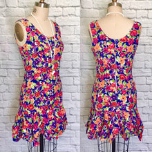 Load image into Gallery viewer, Flirty 90s Scoop Neck Sundress Mini Tropical Floral Print Wiggle Dress W31 Skirt ruffle hem size Medium 10