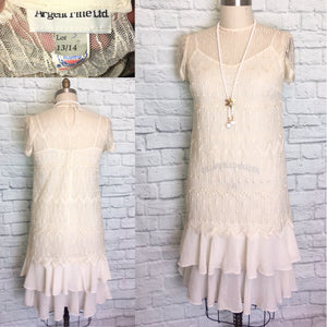 80s does 20s Ivory lace Chiffon Flapper Dress Gatsby Party Bridal shower reception theater costume Large 14 Plus