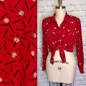 90s Oversized blouse Red Print 1990s 90s Plus Size Shirt Top Button down