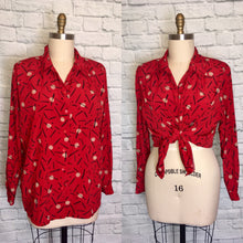 Load image into Gallery viewer, 90s Oversized blouse Red Print 1990s 90s Plus Size Shirt Top Button down