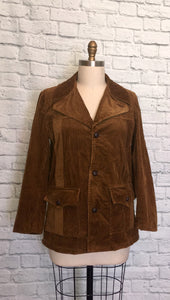 1970s Corduroy Jacket Coat Brown Fall Autumn Fashion 70s Size Large