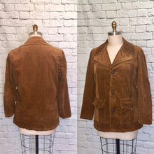 Load image into Gallery viewer, 1970s Corduroy Jacket Coat Brown Fall Autumn Fashion 70s Size Large