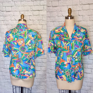 90s Blue Vacation Destination Hawaiian Shirt Blouse floral Short Sleeves size 11 12