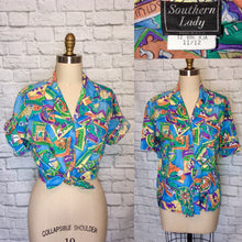 Load image into Gallery viewer, 90s Blue Vacation Destination Hawaiian Shirt Blouse floral Short Sleeves size 11 12