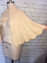 Load image into Gallery viewer, 1970s Ivory Knit Cape PomPom Ties 70s Hippie Boho Fall Poncho One Size