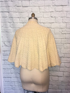 1970s Ivory Knit Cape PomPom Ties 70s Hippie Boho Fall Poncho One Size