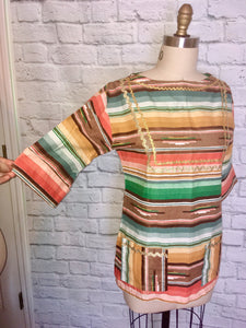 70s Boat Neck Top Shirt Southwest Gold Trim Aztech Orange Teal Green Stripe NWT 3/4 Sleeves Medium