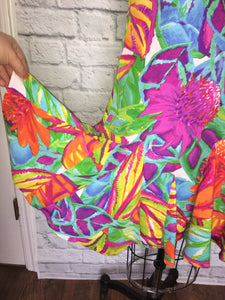 1960s look Psychedelic Dress Shift Floral Multi Color 60s Style GoGo size 6 M