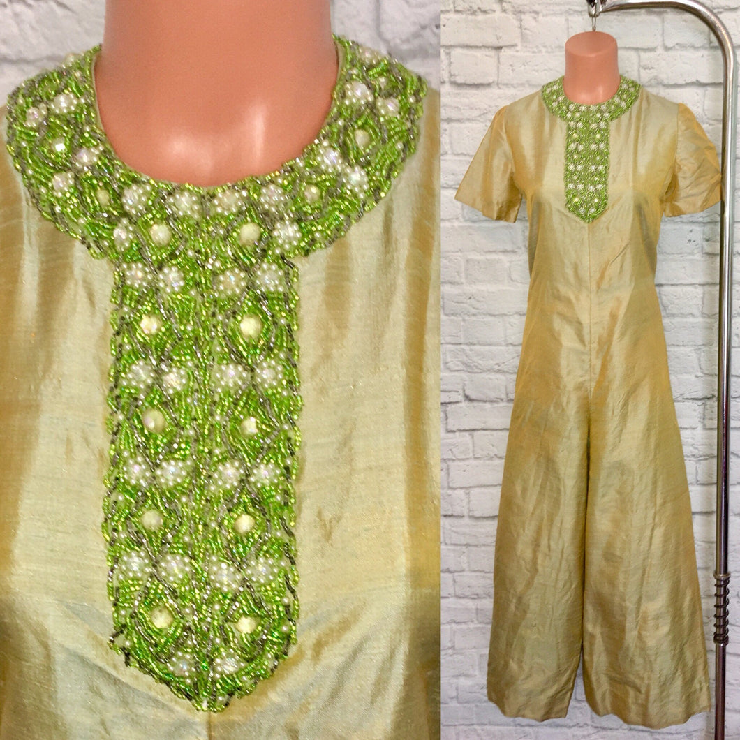 1960s Jumpsuit Silk Beaded I dream of Jeanie 60s Jumpsuit Green Yellow chartreuse  Wide Flared Pants size Medium W32