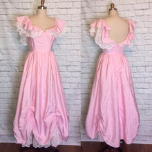 Load image into Gallery viewer, Vintage Dress 1980s Light Pink 80s Southern Belle Formal Prom Party Gown Size Small Medium W27