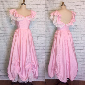 Vintage Dress 1980s Light Pink 80s Southern Belle Formal Prom Party Gown Size Small Medium W27