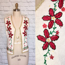 Load image into Gallery viewer, 90s Beaded Vest Waistcoat Christmas Sweater Poinsettia Floral Novelty print 1990s size Medium White Red Gold