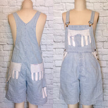 Load image into Gallery viewer, Light wash Denim mini Wide Stripe white Blue Overall Romper Suspender Bib Baggy Long Shorts 90s 1990s Size L