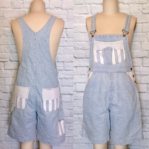 Light wash Denim mini Wide Stripe white Blue Overall Romper Suspender Bib Baggy Long Shorts 90s 1990s Size L