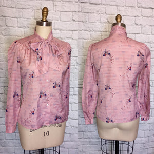 80s Mauve Lilac Pussy Bow Blouse Long Sleeve Button Front Secretary shirt Top size medium