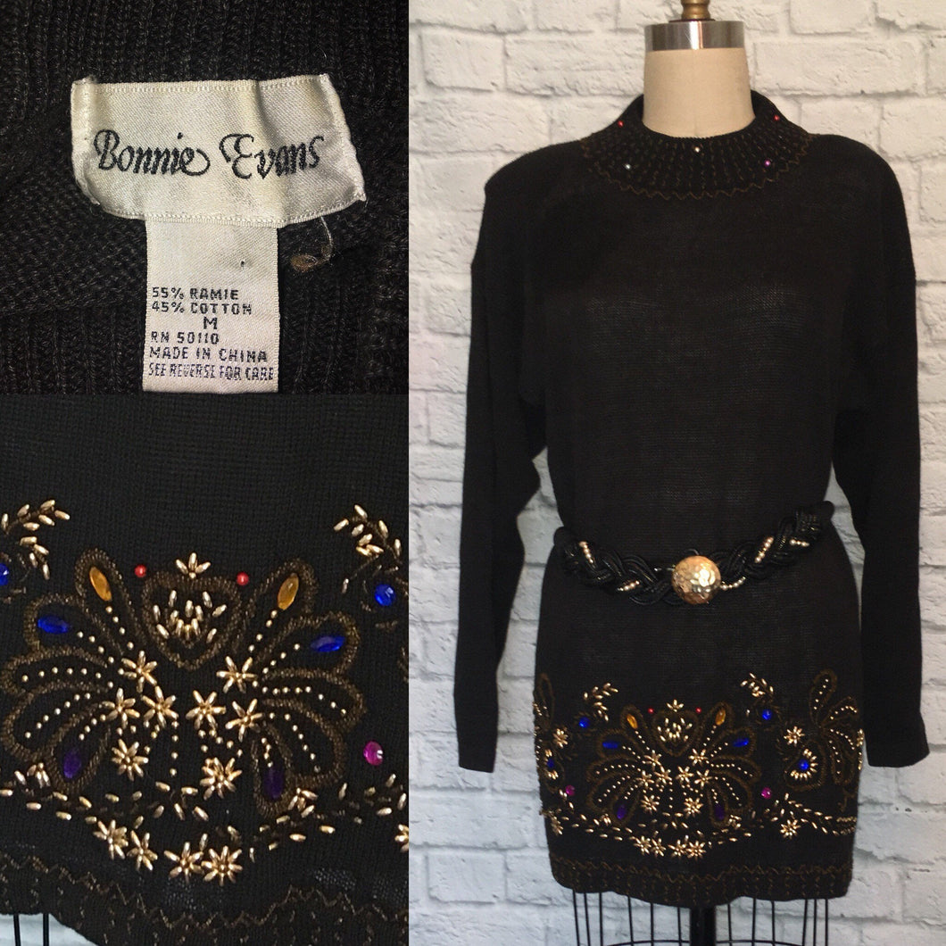 80s 90s embellished Sweater Tunic Dress jewel rhinestone beaded embroidered over sized  baggy size Medium