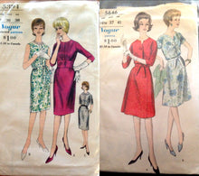 Load image into Gallery viewer, Vogue Vintage 5394 or 5646 Dress Sewing Pattern Jackie Kennedy Pinup Style Wiggle A-line Dress Wide Waistband Pencil skirt size 16