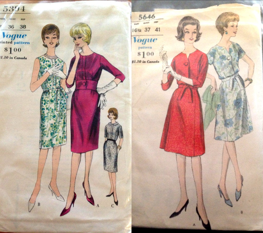 Vogue Vintage 5394 or 5646 Dress Sewing Pattern Jackie Kennedy Pinup Style Wiggle A-line Dress Wide Waistband Pencil skirt size 16