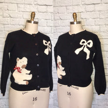 Load image into Gallery viewer, 90s Christmas Sweater Cardigan Button Front Long Sleeve Black White Red bow and teddy bear Size Medium