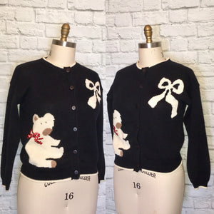 90s Christmas Sweater Cardigan Button Front Long Sleeve Black White Red bow and teddy bear Size Medium