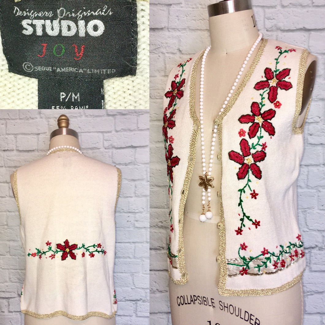 90s Beaded Vest Waistcoat Christmas Sweater Poinsettia Floral Novelty print 1990s size Medium White Red Gold