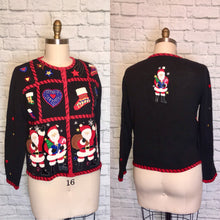 Load image into Gallery viewer, Sweater 80s beaded sequin Cardigan Novelty Santa Clause Saint Nick 1980s Black Size M L