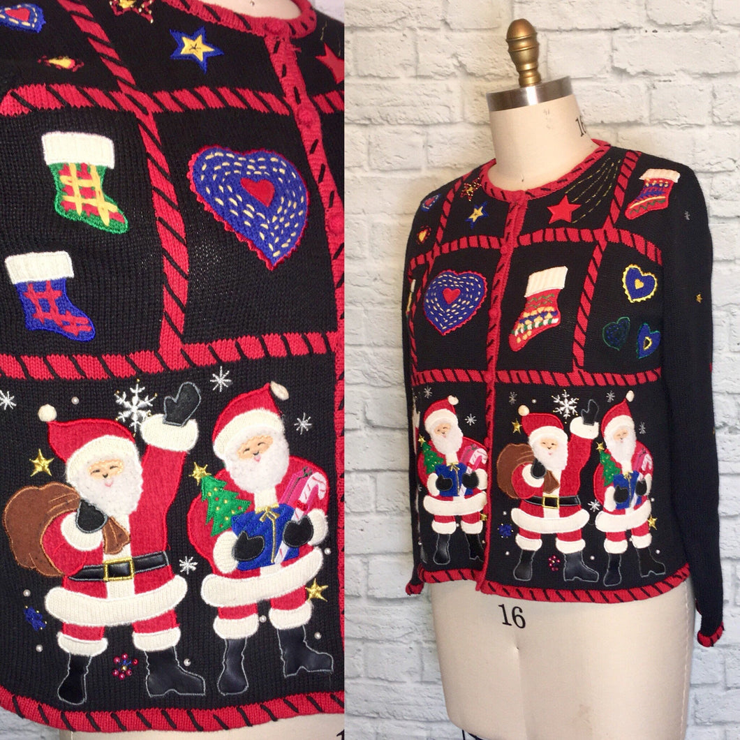 Sweater 80s beaded sequin Cardigan Novelty Santa Clause Saint Nick 1980s Black Size M L