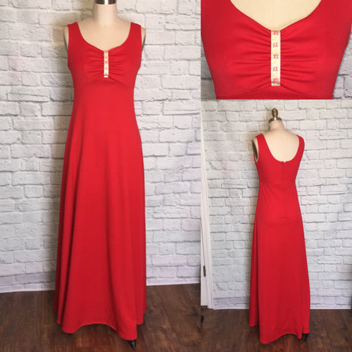 1970s 70s Dress Disco Maxi Bright Red gathered Bust Full Length Valentines day  Prom Sweetheart Neck Size S Small