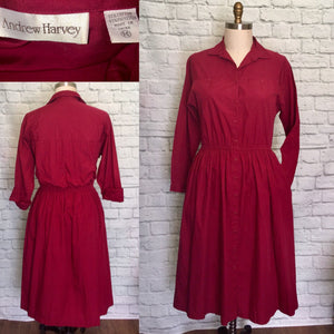 80s does 50s Shirtwaist Dress  Burgundy Dark Red Valentines day 1980s Secretary Holiday Christmas Plus Size