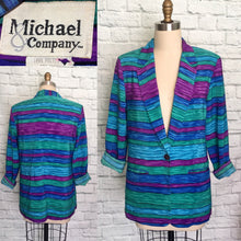 Load image into Gallery viewer, 80s 90s Power Blazer Novelty Print Stripe Blue Green Purple Wave Jacket Size Medium Large 10