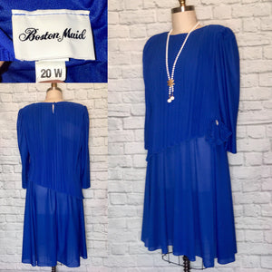 vintage plus size Dress 1980s does 1920s Royal Blue Elastic Waist Flapper Gatsby Roaring 80s does 20s Party Size 20
