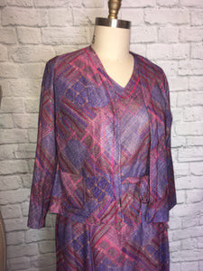 1970s Dress and jacket Short sleeves Purple Patchwork Print Secretary Professional 2pc- XL Plus