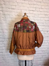 Load image into Gallery viewer, 90s windbreaker Sport Mosaic Nylon brown mustard Jacket Baggy 1990s Sporty Size XL