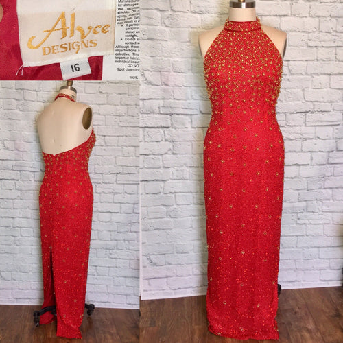 Alyce Designs 90s Glam Red Gold Halter Formal Prom Dress Evening Gown beaded Pencil Skirt Back Slit Size Large 16 W32